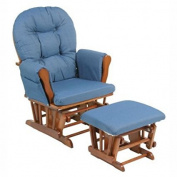 Bowback Glider Rocker and Ottoman Cognac Finish, Denim Blue Cushions Meets or Exceeds All U.S. and Canadian Safety Standards