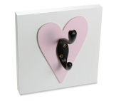 Heart Single Wall Hook, Light Pink