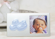 Baby Shoe Plated Picture Frame Blue