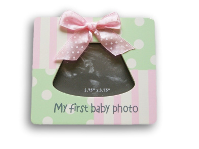 """White and Blue Baby Sonogram Frame - """"My First Baby Photo"""" - 13cm x 14cm"""