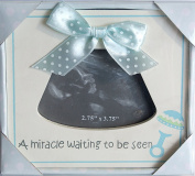 """White and Blue Baby Sonogram Frame - """"A Miracle Waiting to be Seen"""" - 13cm x 14cm"""