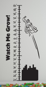 Growth Chart Superhero Wall Decals Stickers, Black, 120cm