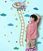 Winhappyhome Space Flight Kids Growth Chart Height Decal Wall Art Stickers for Living Room Bedroom Nursery Background Removable Decor Decals