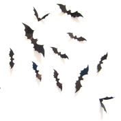 SMTSMT 12pcs Black 3D DIY PVC Bat Wall Sticker