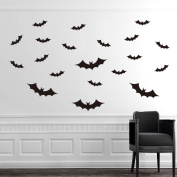 BIBITIME 20 Pcs Flying Bats Deocr Halloween Bat Wall Stickers Bedroom Art Mural Shop Bar Window Vinyl Decals PVC Removable FullHome