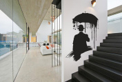 Wall Decal Vinyl Sticker umbrella man in a hat RAIN Gift holl bedroom a137