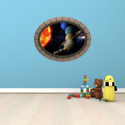 90cm Porthole Outer Space Ship Window View SOLAR SYSTEM #4 OVAL RIVETS Wall Sticker Kids Decal Baby Room Home Art Décor Den Mural Man Cave Graphic LARGE