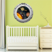 90cm Porthole Outer Space Ship Window View SOLAR SYSTEM #2 CHROME Wall Sticker Kids Decal Baby Room Home Art Décor Den Mural Man Cave Graphic LARGE