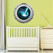 90cm Porthole Outer Space Ship Window View QUASAR STAR #1 CHROME Wall Sticker Kids Decal Baby Room Home Art Décor Den Mural Man Cave Graphic LARGE