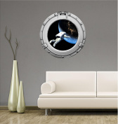 90cm Porthole Outer Space Ship Window View ASTRONAUT FLOATING ABOVE EARTH #1 CHROME Wall Sticker Kids Decal Baby Room Home Art Décor Den Mural Man Cave Graphic LARGE