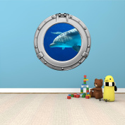 90cm Porthole Ship Sea Window Ocean View BOTTLE NOSE DOLPHIN #4 CHROME Wall Sticker Kids Decal Baby Room Home Art Décor Den Mural Man Cave Graphic LARGE
