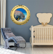 90cm Porthole Ship Sea Window Ocean View MANATEE SEA COW #1 BRASS Wall Sticker Kids Decal Baby Room Home Art Décor Den Mural Man Cave Graphic LARGE