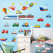 Wallpark Cartoon Transportation - Car Train Aeroplane Boat - Removable Wall Sticker Decal, Children Kids Baby Home Room Nursery DIY Decorative Adhesive Art Wall Mural