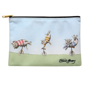 Women's Edward Gorey Printed Zipper Pouch - Unicycling Cats