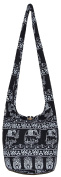 Elephant Bohemian Chic Black Hobo Hippie Crossbody Bag Purse with 80cm