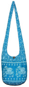 Elephant Vintage Bohemian Boho Hobo Hippie Crossbody Bag Purse with 80cm Light Blue