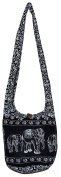 Elephant Classics Bohemian Black Hobo Hippie Crossbody Bag Purse with 80cm