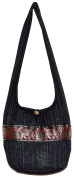Elephant Stripe Bohemian Hipster Hobo Boho Hippie Crossbody Bag Black Gold