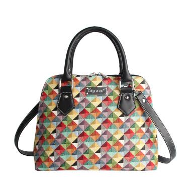 Signare Womens Fashion Canvas Tapestry Convertible Shoulder Handbag in Multi-coloured Triangle Design