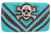 Rockabilly Western Biker Lady Rhinestone Skull Buckle Framed Clutch wallet