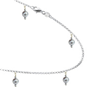 Simulated Grey Coloured Pearls with .925 Sterling Silver Link Anklet, Bracelet. 7,8,9,10,11,31cm