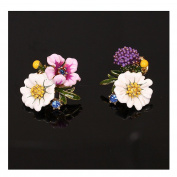 Helen de Lete enamel glaze lovely flowers exquisite earrings