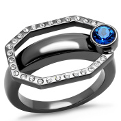 Womens Octagon Ion Plated Light Black Stainless Steel Capri Blue Crystal Ring