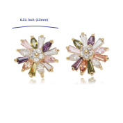 Gold Plated Snow Flower Multi-coloured Stud Earrings