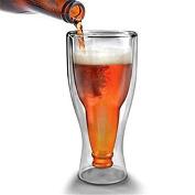 Upside Down Beer Double Wall Glass Bottle Mug