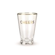 Rustic Farmhouse Gold Rimmed Cheers Pint Glass Set by Twine