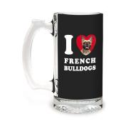 Tree-Free Greetings GS09053 I Heart French Bulldogs Artful Alehouse Glass Stein, 470ml