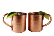 Set of 2 hammered Copper Mugs for Moscow Mules by ALCHEMADE with bonus E-Recipe book included