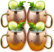 Estilo Handcrafted Solid Copper Moscow Mule Mugs, 590ml - Set of 4