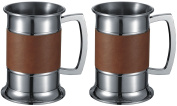 Visol Brown Leather Wrapped Stainless Steel Beer Tankard (2 Pack), 350ml, Silver