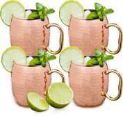 Estilo Handcrafted Solid Hammered Copper Moscow Mule Mugs, 590ml - Set of 4