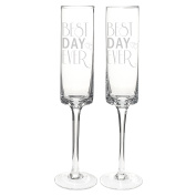 Cathy's Concepts Best Day Ever Contemporary Champagne Flutes, Set of 2