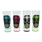 TMD Holdings Buffalo Plaid Candy Skull Tall Shooters Shot Glasses, Set of 4, 60ml, Multicoloured