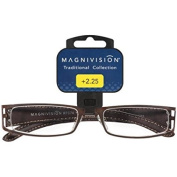 Magnivision Naples +1.00 Copper Metal Frame Brown Woven Leather Temples Reading Glasses