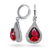 Red Cubic Zirconia Pear Teardrop Leverback Dangle Earrings