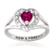 Sterling Silver Ruby Colour and Clear CZ Heart Ring