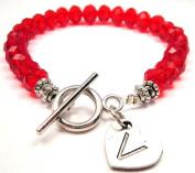 Initial V Crystal Toggle Bracelet in Crimson Red
