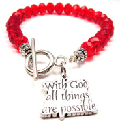 With God All Things Are Possible Crystal Toggle Bracelet in Crimson Red