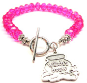 Witch's Brew Cauldron Crystal Toggle Bracelet in Hot Pink