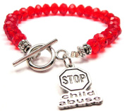 Stop Child Abuse Crystal Toggle Bracelet in Crimson Red