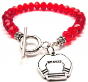 Hockey Jersey Crystal Toggle Bracelet in Crimson Red