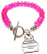 Head Hunter Soup Crystal Toggle Bracelet in Hot Pink