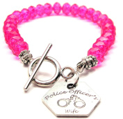 Police Officer's Wife Crystal Toggle Bracelet in Hot Pink