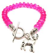 Deer Buck Crystal Toggle Bracelet in Hot Pink