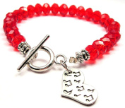 Music Notes All Over Crystal Toggle Bracelet in Crimson Red