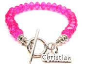 Christian Crystal Toggle Bracelet in Hot Pink